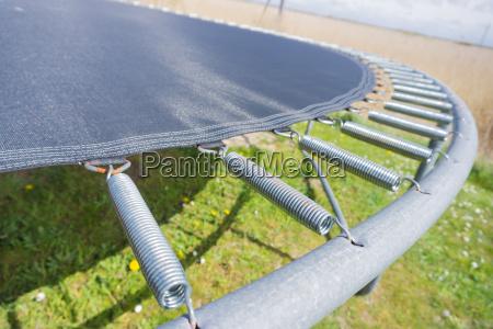 close up of a trampoline in