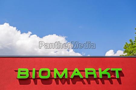 bio market red facade lettering biomarkt
