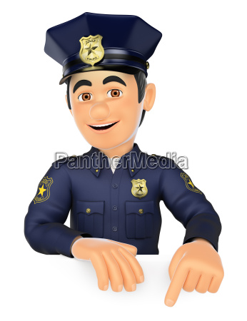 3d policeman pointing down blank space