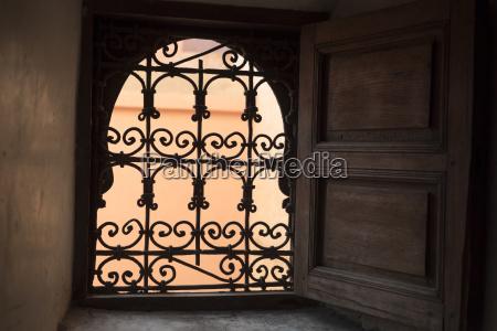 ironwork in window marrakesh morocco