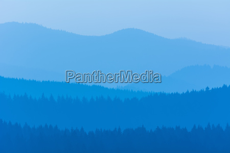 low mountain landscape with horizon lines