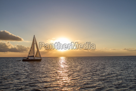 yacht in the tropical sea at