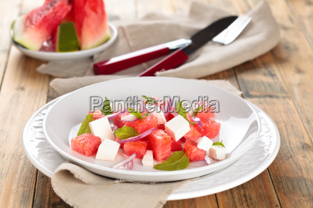 watermelon salad in plate