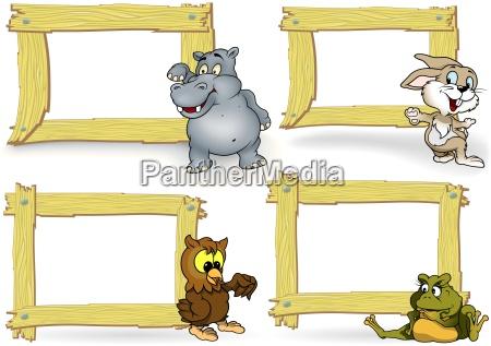 wood, frame, with, cartoon, animal - 17718678