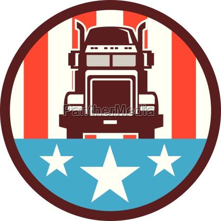 truck usa flag circle retro