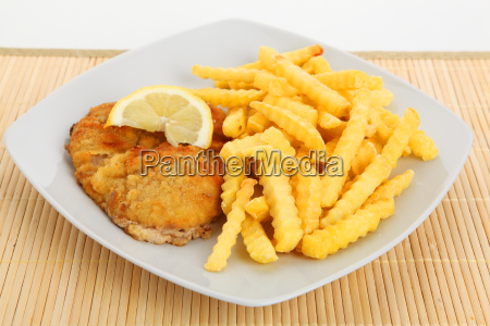 schnitzel and fries