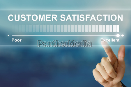 business hand clicking excellent customer satisfaction