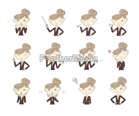 set of poses and emotions business