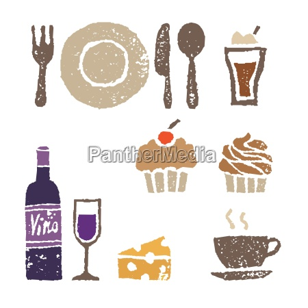 wine and sweets restaurant elements illustration