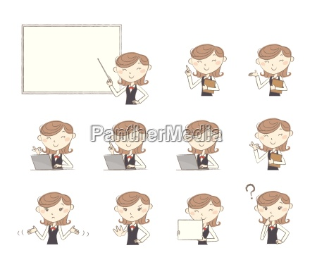 set of poses and emotions office