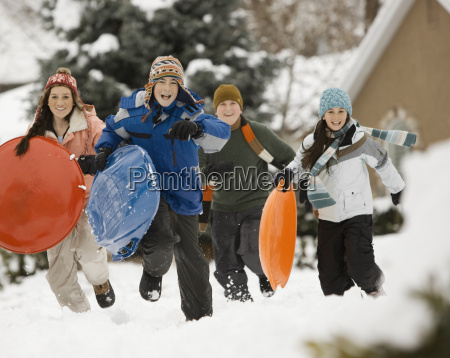 winter snow four children boys and