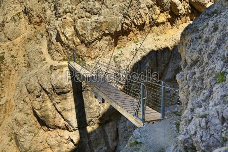 suspension footbridge in the dolomites