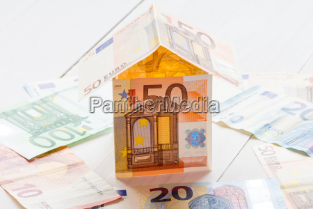 house made of euro currency