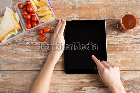 close up of woman with tablet