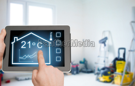 close up of tablet pc in