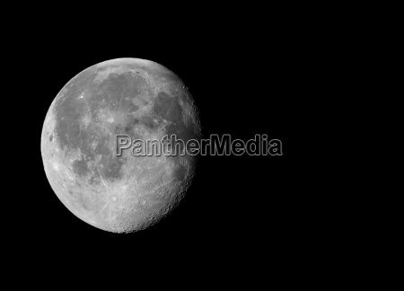 waning gibbous moon with copy space