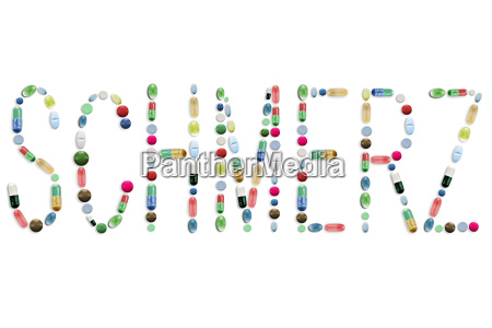 medicine pills tablets colorful letters word