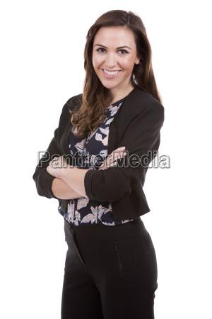 successful businesswoman on white