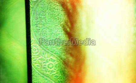horizontal vivid green curtain with light