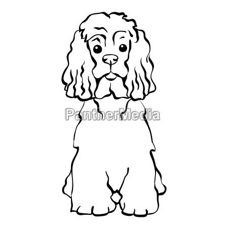 vector sketch funny dog sitting