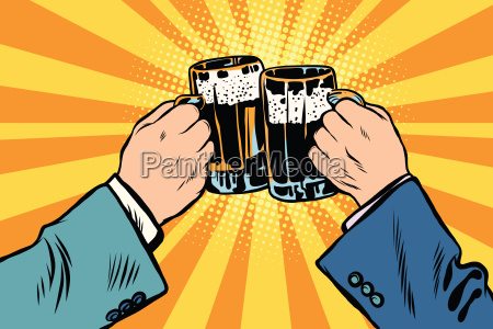 toasting hands beer party poster