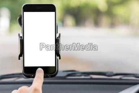 close up hand use phone on