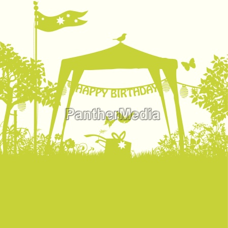 pavilion and birthday lettering in the