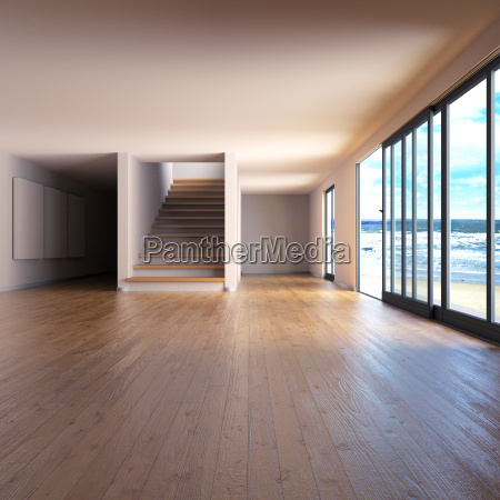 room with wood floor and staircase