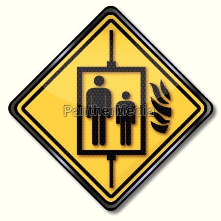prohibition sign for passenger elevator during