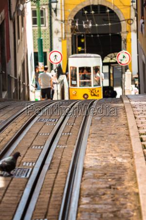 yellow tram in center of lisbon