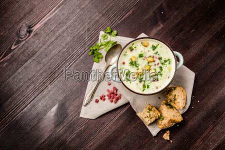 potato soup with ham and bread