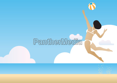 a beach volleyball woman