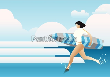 girl running holding a surf board