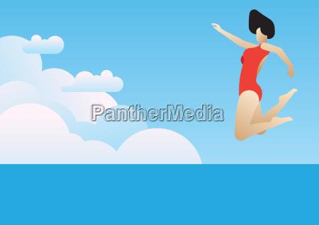 woman who vigorously jump
