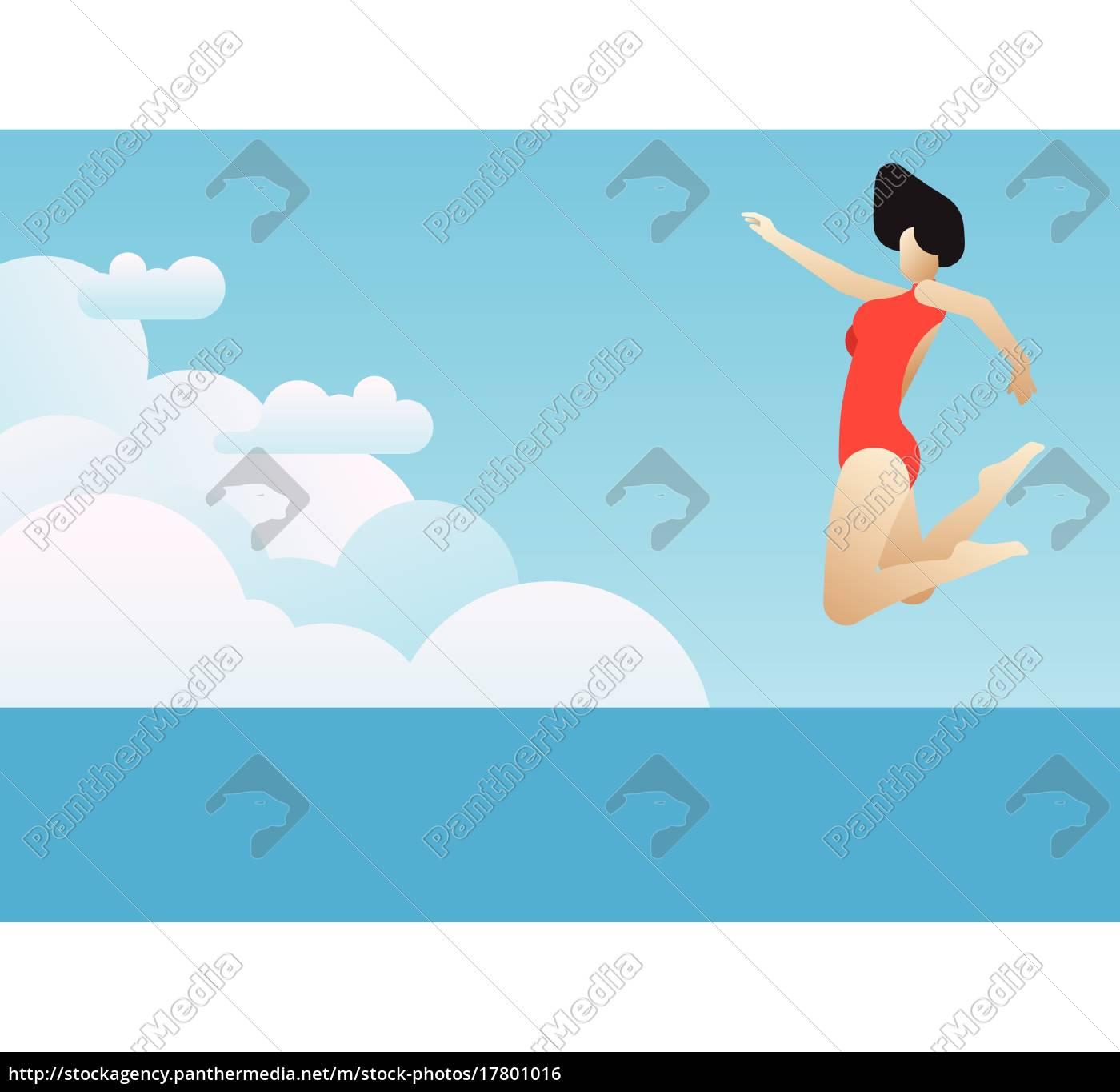 woman, who, vigorously, jump - 17801016