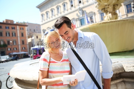 couple of tourists in farnese square