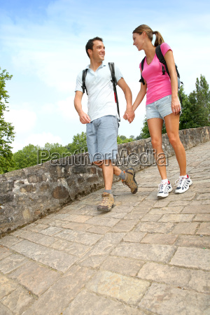 couple on a rambling day crossing