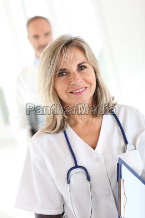 portrait of smiling nurse doctor in