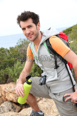 portrait of hiker relaxing by the