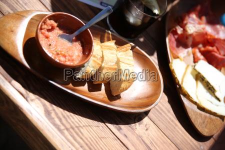 closeup of typical spanish tapas