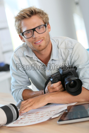 portrait, of, young, photographer, reporter, in - 17815804