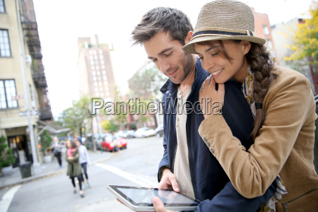 couple in town connected on digital