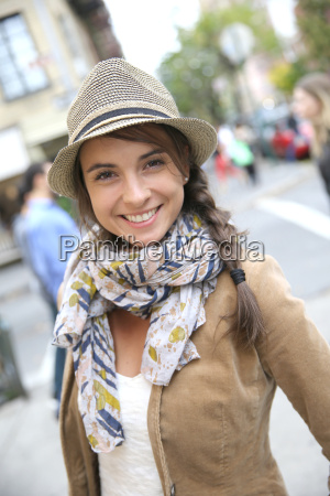 portrait of smiling woman with scarf