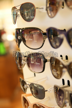 closeup of sunglasses set on display