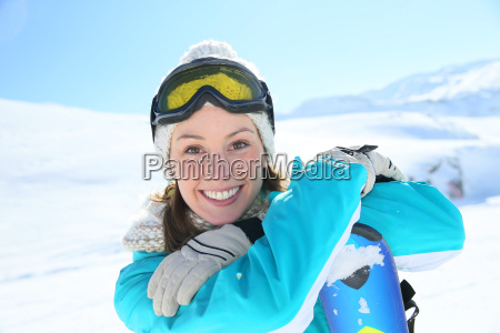 woman in ski outfit standing at
