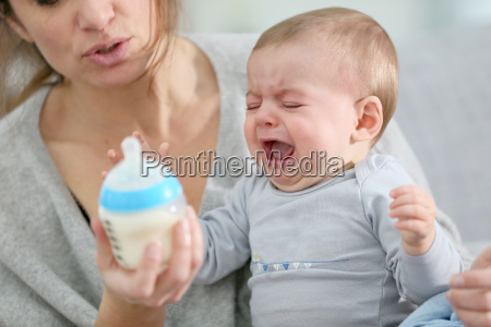 baby boy crying to have food