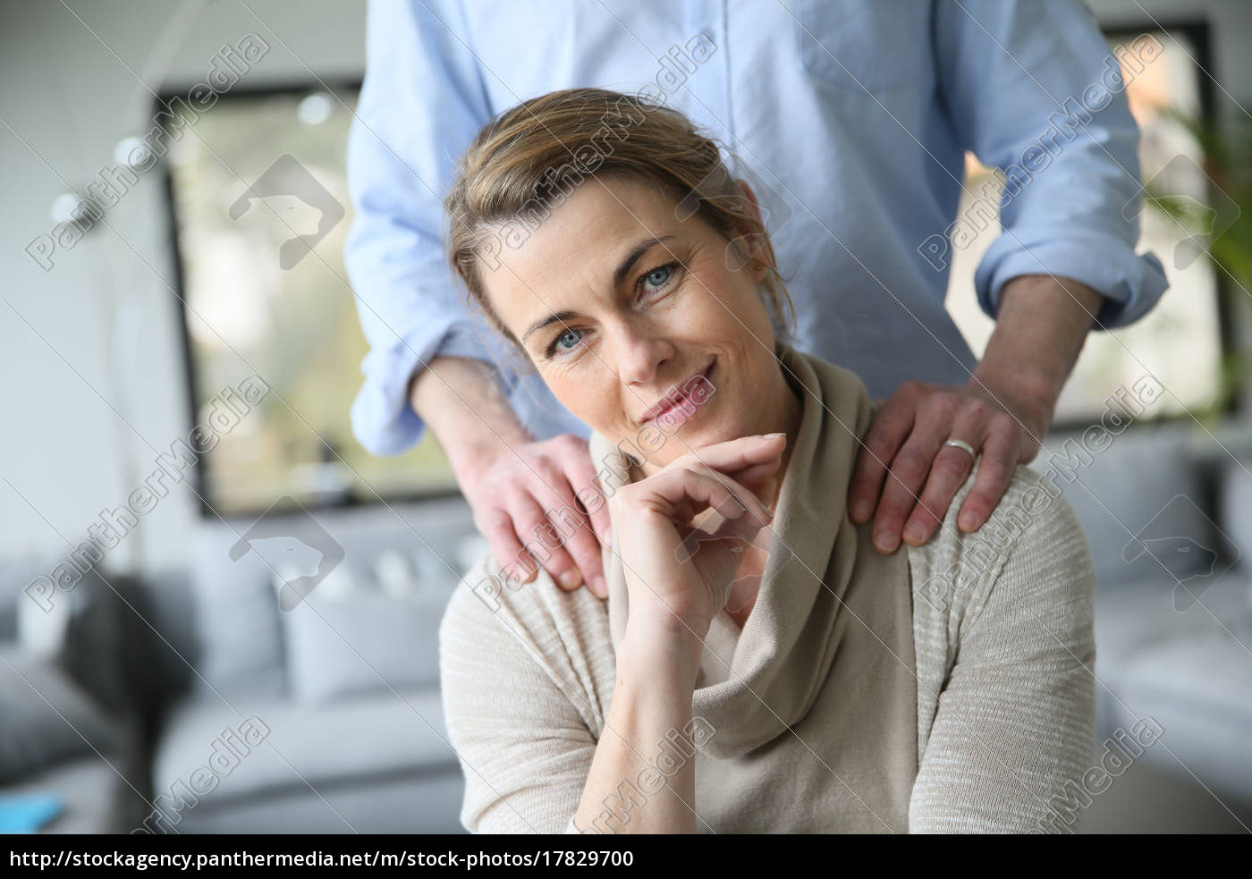 portrait, of, mature, woman, , husband's, hands - 17829700