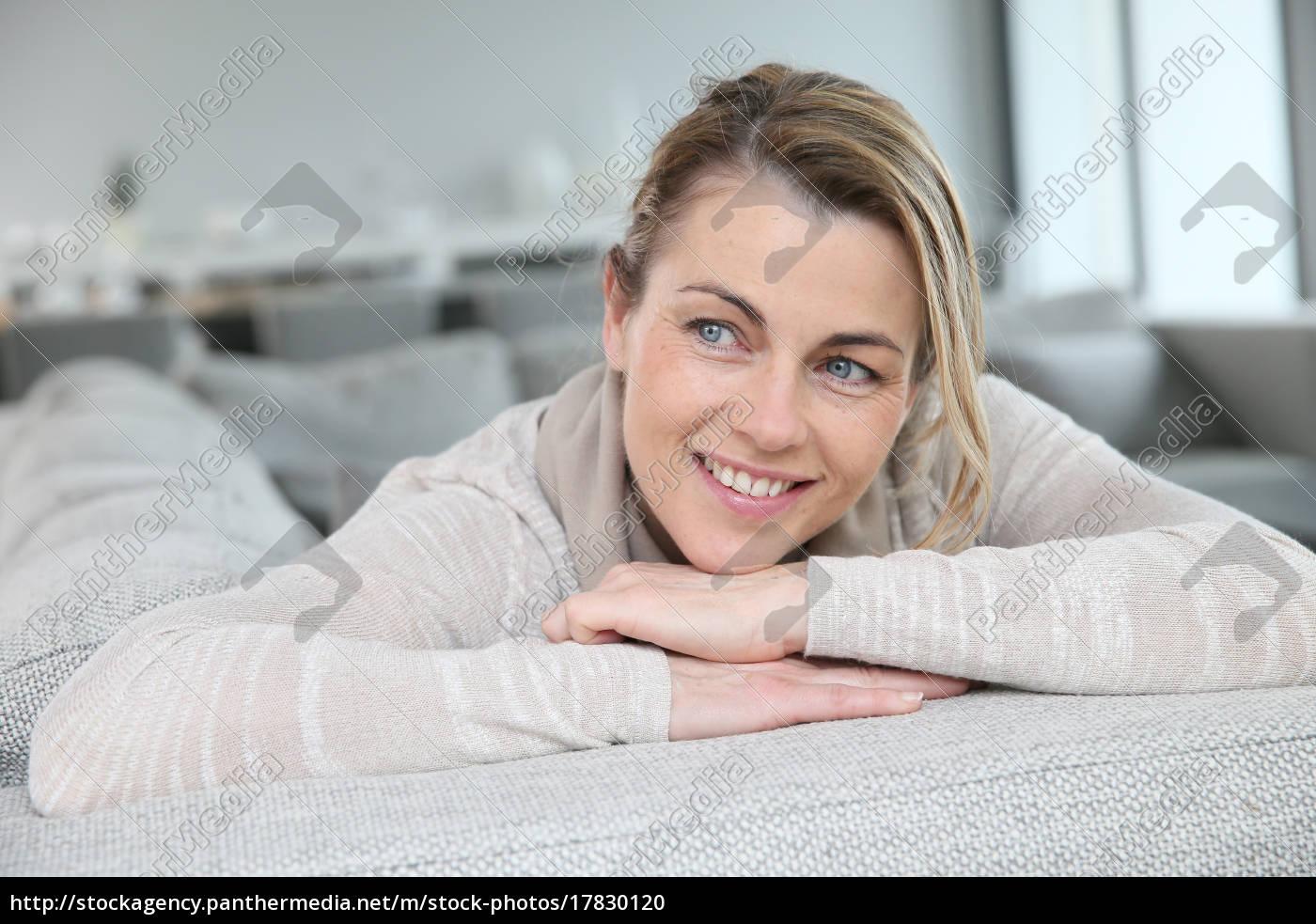portrait, of, mature, smiling, blond, woman - 17830120