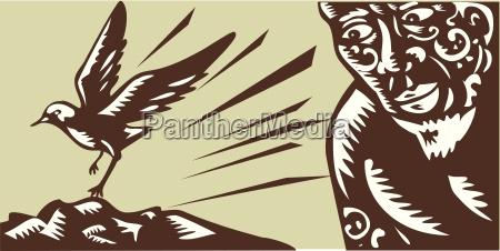 tagaloa looking at plover bird woodcut