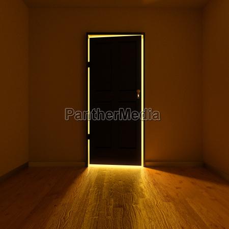 dark room with an illuminated door